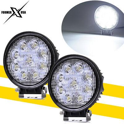 2x 4inch 27W Round LED Work Light Pod FLOOD Beam Off-road Driving Fog Light 12V