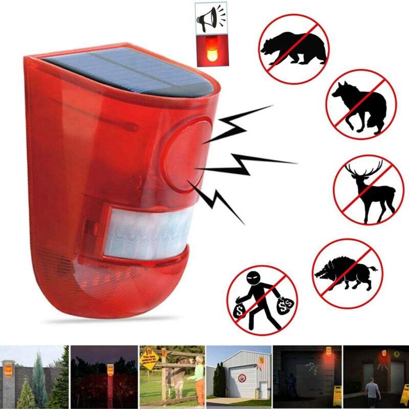 Solar Alarm LED Light Solar Strobe Light Wireless Motion Sensor Detector Outdoor