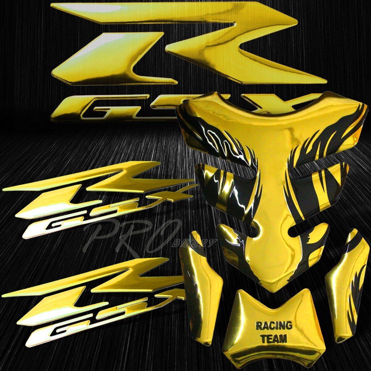 "Chrome Gold Tribal Fire Tank Pad+8/"" 3D Suzuki Logo+Letter Fairing Emblem Sticker"