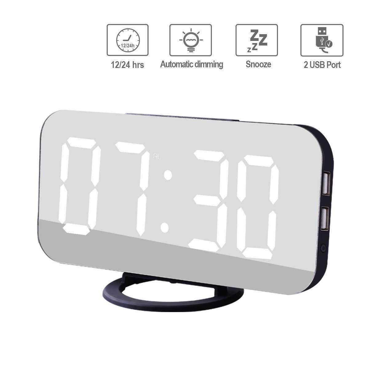LED Digital Mirror Modern Alarm Clock with 2 USB Charger Ports,  Simple Setting