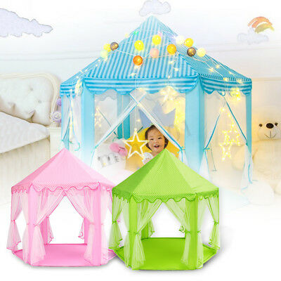 Portable Girls Princess Castle Tent In/Outdoor Kids Child Play House 3 Colors