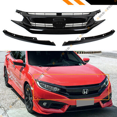 FOR 2016-18 HONDA CIVIC 10TH GEN BLACK JDM RS STYLE FRONT HOOD GRILLE + EYE LID - Honda Civic Grille Replacement
