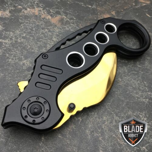 "8"" GOLD TITANIUM Tactical Spring Assisted Open Karambit Pocket Knife Folding"