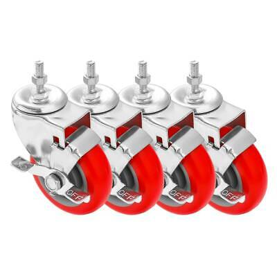 4 Pack 4 Inch Stem Caster Swivel With Side Brake Red Polyurethane Caster Wheels