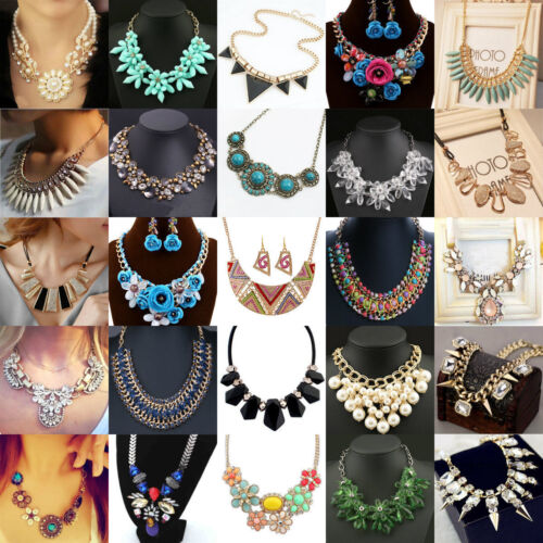 Fashion Women Jewelry Pendant Crystal Choker Chunky Statement Chain Bib Necklace