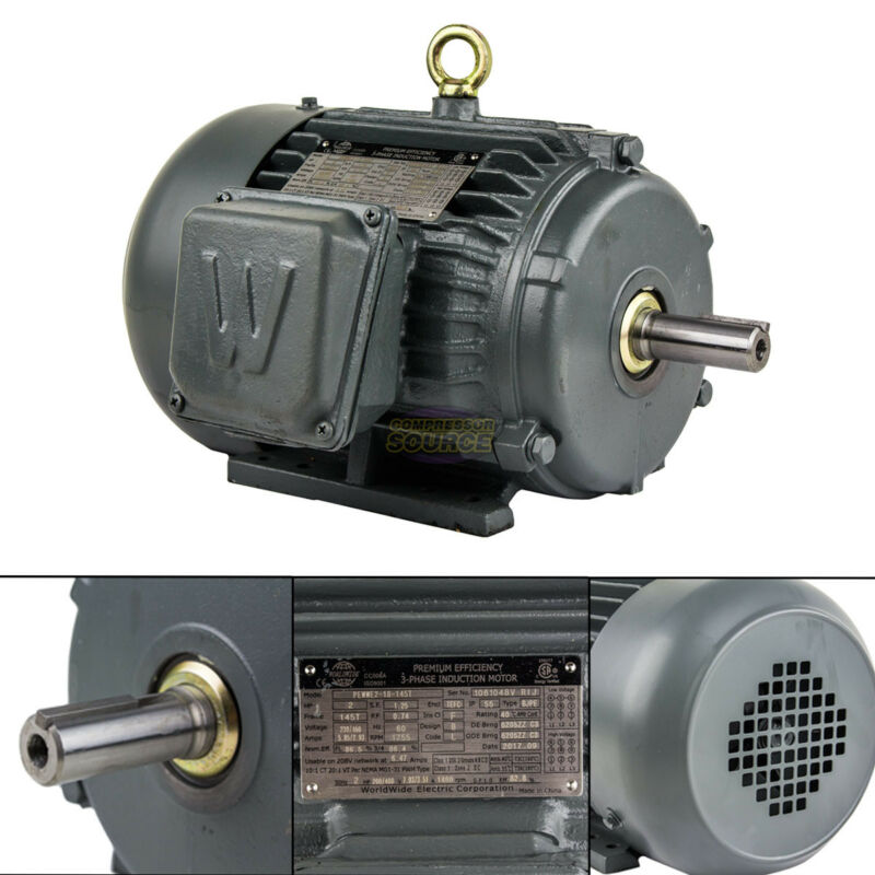 2 HP 3 Phase Electric Motor 1800 RPM 145T Frame TEFC 230/460V Premium Efficiency