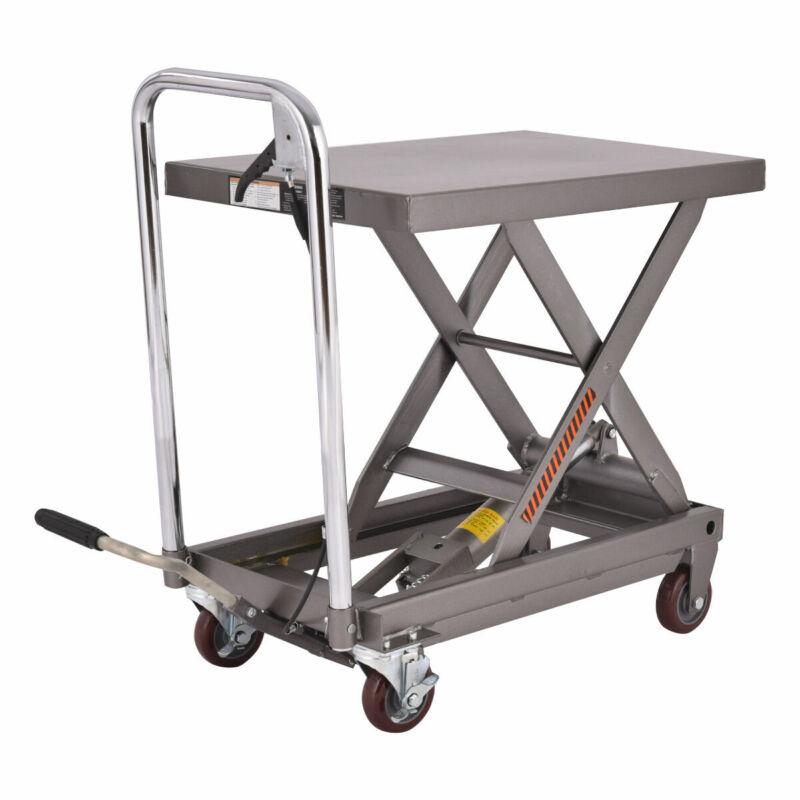 500LB Capacity Rolling Table Cart Hydraulic Cart W/Foot Pump Dolly Heavy Duty