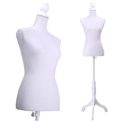 White Female Mannequin Torso Clothing Display W White Tripod Stand New