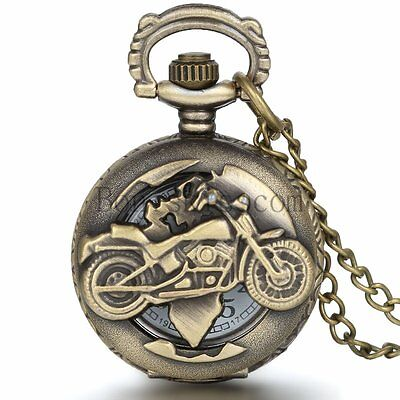 Vintage Biker Motorcycle Quartz Half-hunter Pocket Watch Pendant Necklace Chain