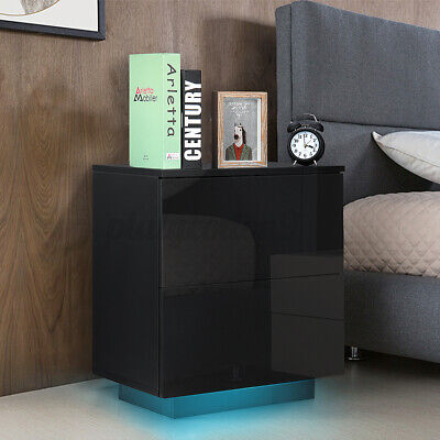 2 Drawers High Gloss RGB LED Nightstand Modern Bedside Table Dresser Night Stand