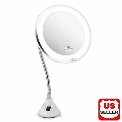 10X Gooseneck Magnifying Makeup Mirror Magnification Bathroom Mirror + LED Light Magnifying Makeup Mirror