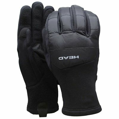 Hybrid Fleece Glove - HEAD Men's Black Hybrid Sensatec Touchscreen Warm Fleece Lined Gloves Small NWT