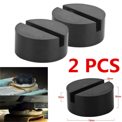 2pc Universal Slotted Frame Rail Floor Jack Guard Adapter Lift Rubber Pad Black!