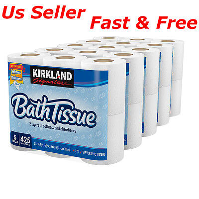 30 ROLLS of Kirkland Signature Bath Tissue 2ply Toilet Paper 425 Sheets NEW Free
