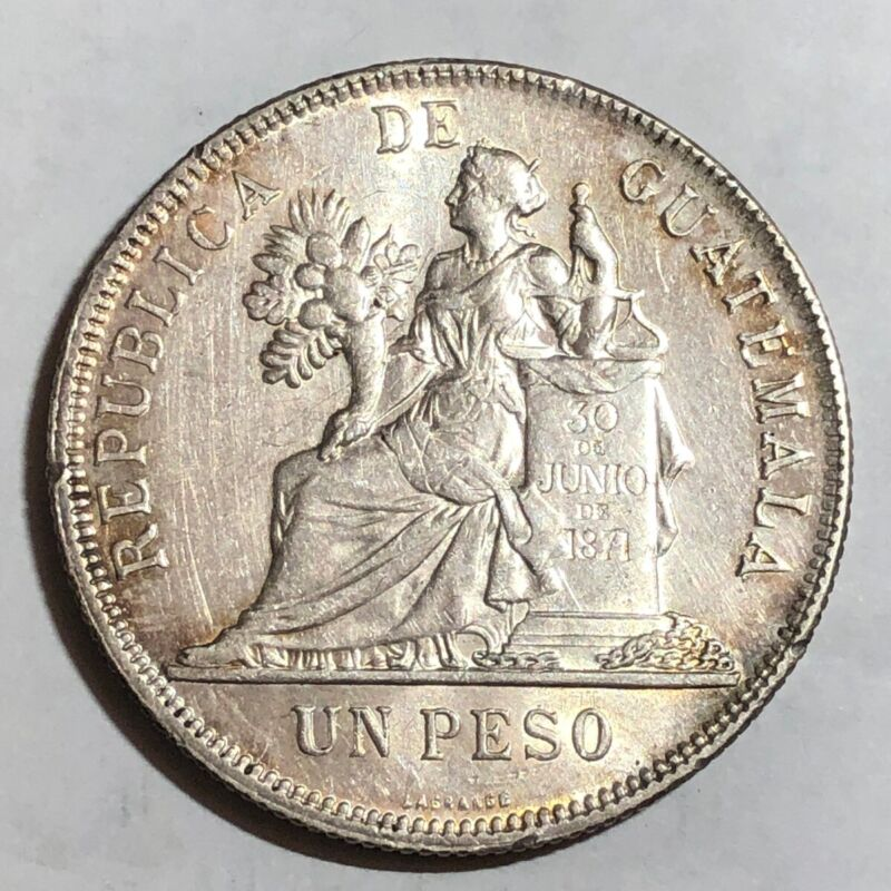 1895 Guatemala UN PESO, choice AU. #uu1    (large crown-sized silver coin)
