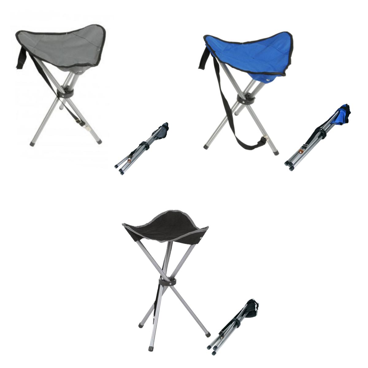 Campinghocker Dreibeinhocker Anglerhocker Campingstuhl Schwarz Grau Blau