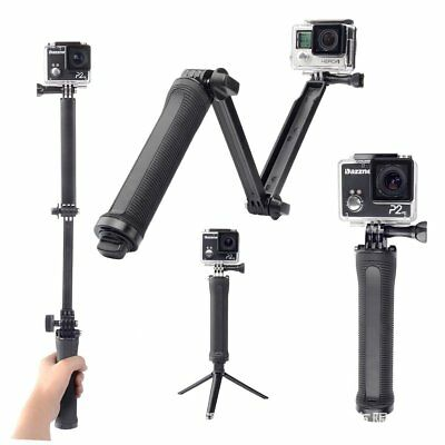 For Go Pro Selfie Stick 3 Way Hand Grip Flexible Tripod Extension Arm Monopod