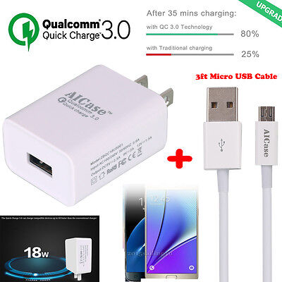 Quick Charge 3 0  Aicase Qualcomm 18W High Rapid Usb Wall Charger  3Ft Cable Us