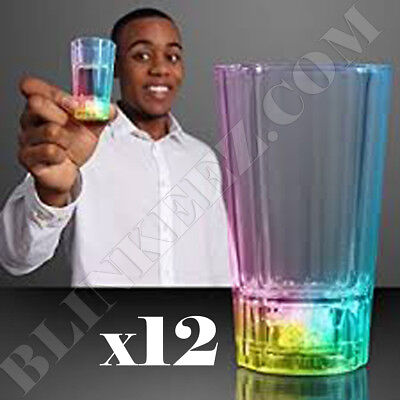 12X LED LIGHT UP Liquid Activated Shot Glass Party Holiday Drinking Light Up - Light Up Drinking Glasses