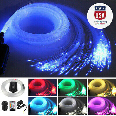 12V 12W RGB LED Fiber Optic Star Ceiling Light Kit 300pcs 2M 0.75mm Home Car Set ()