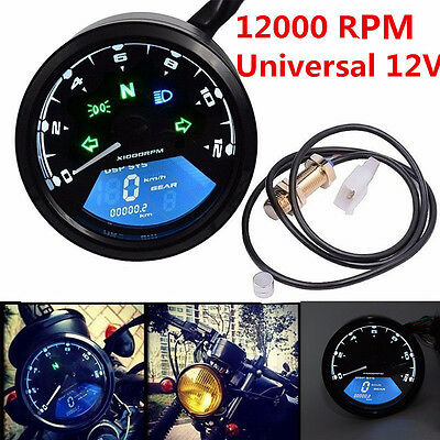 12000rpm KMH/MPH LCD Digital Gauge Motorcycle Speedometer Odometer Motor Bike