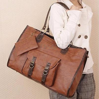 Women Large PU Leather Handbag Shoulder Shopping Bag Tote Messenger Bag Brown