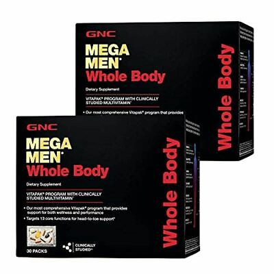 GNC Mega Men Whole Body Vitapak, Twin Pack, 30 Packs per Box, Supports Wellness