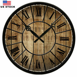 15 Large Wall Clock Home Decor Retro Art Clocks Antique Wooden Color Round