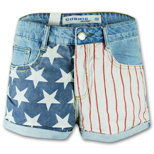 Ladies Shorts Womens Hot Pants Jeans USA American Flag Print Casual High Waist