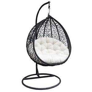 Charles Bentley Rattan Wicker Garden Patio Hanging Swing Chair Seat - Black