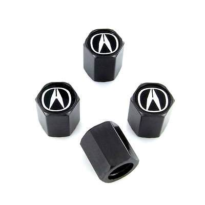 Acura Black Logo Black Tire Stem Valve Caps