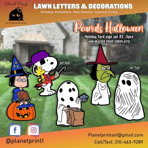 Big 3ft Halloween Peanuts Yard Signs - Weather Proof Vivid Colors