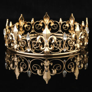 Gold king crown ebay mens imperial medieval fleur de lis gold king crown 85cm high 18cm diameter us thecheapjerseys Choice Image