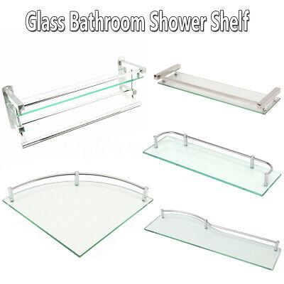 Bathroom Shower Glass Shelf Corner Rectangle Rack Towel Rail