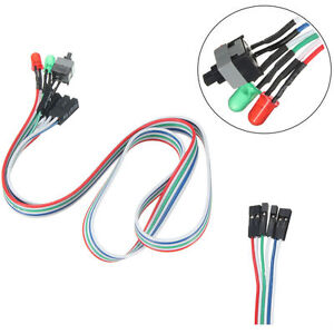 65cm ATX PC Desktop Case Power On Off Reset Switch Cable with 2 x LED Lights