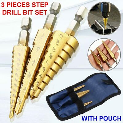 3 Pcs Step Cone Drill Bit Titanium Hole Cutter High Speed Steel Set + Pouch USA