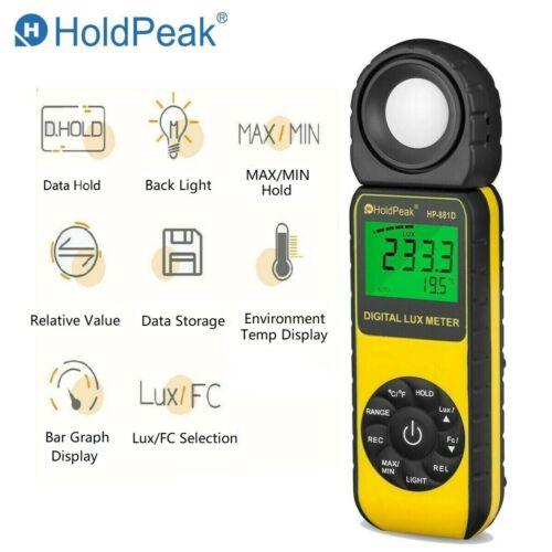 Light Lux Meter Digital Illuminometer Luminometer 400,000Lux Temp Detector 881D