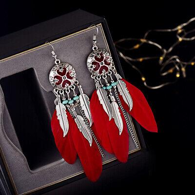 Women Bohemian Colorful Beads Long Feather Tassel Dangle Wings Earrings Jewelry