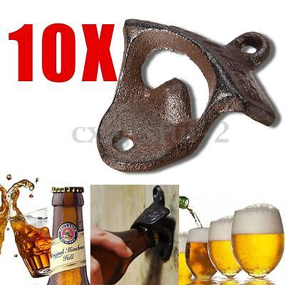 10x Cast Iron Vintage Rustic Style Collectable Wall Mounted Beer Bottle Opener