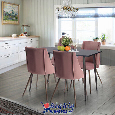 2x Dining Chairs Velvet Fabric Cushion Home Kitchen Furniture Seat Modern Pink 11