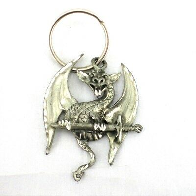 Gothic Mythical Wyvern Metal Key Chain Ring Dragon Winged Demon Sword SilverTone