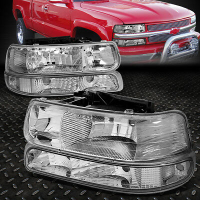 FOR 1999 2002 CHEVY SILVERADO CHROME HOUSING CLEAR CORNER HEADLIGHT UPPERLOWER