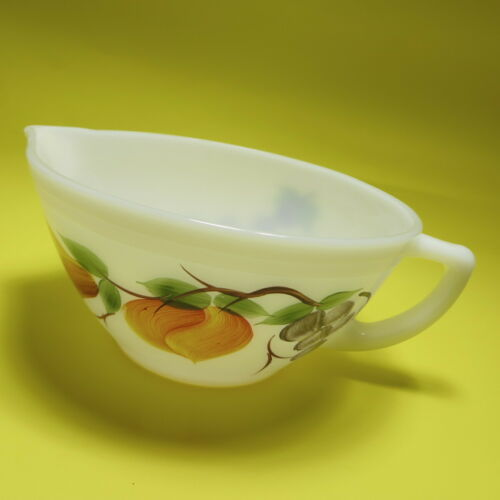 Vtg Gay Fad Fruit Batter Bowl Federal Glass Painted Grapes Peach Pear