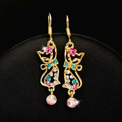 - Betsey Johnson Gold & Multi Color Crystal Kiss Me Cat Earrings Pink Green
