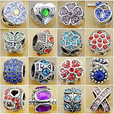 Wholesale Rhinestone Tibet Silver Big Hole Spacer Beads Fit European Bracelet (Big Beads)