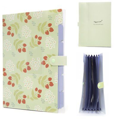 Floral Printed Accordion Document File Folder Expanding Letter Organizer Green