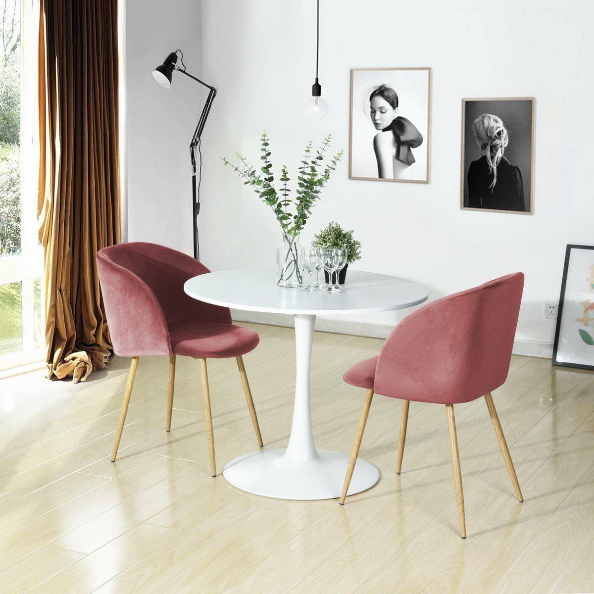 2er Set Esszimmerstühle Vintager Retro Sessel Polstersessel Samt Lounge sessel