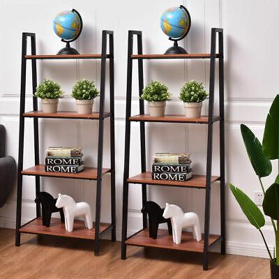 2PC Bookcase Bundle 4 Tier Ladder Storage Book Plant Shelf Wall  Multifunction 2 Shelf Mdf Bookcase