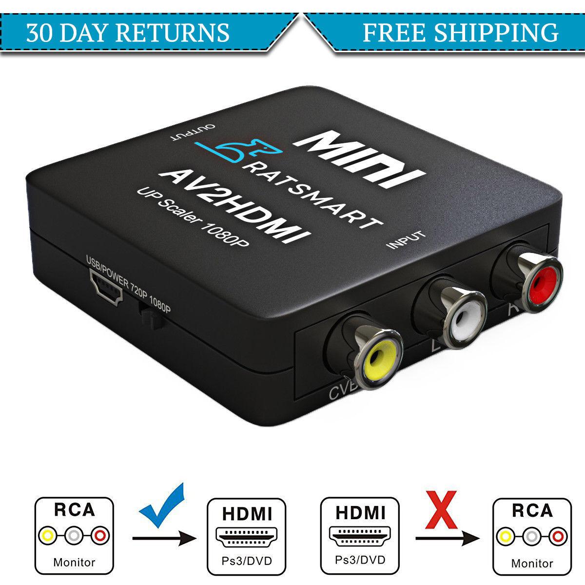 как выглядит Видео кабель, коннектор  RCA to HDMI Converter, Composite AV CVBS Video Adapter 720p 1080p Upscaler фото