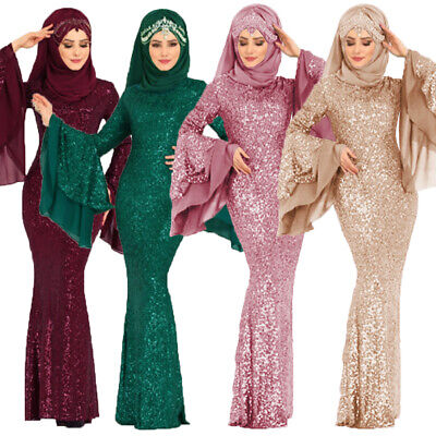 Women's Sequin Long Sleeve Muslim Islam Kaftan Dubai Abaya Maxi Long Dress Robe